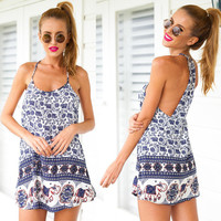 Elephant Print Boho Dress in Blue or Red