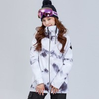 Gsou Snow Women Ski Jacket Skiing Sport Wear Windproof Waterproof Breathable Winter Clothing Super Warm Coat Female Outdoor Wear