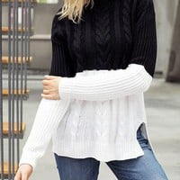 Women Black White Colorblock Cable Knit Sweater