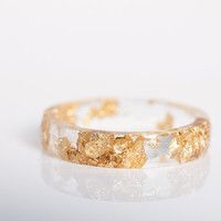 size 8 thin multifaceted eco resin ring | transparent eco resin with gold leaf flakes