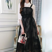 """Valentino"" Women Temperament Fashion Long Sleeve Shirt Gauze Lace Strap Dress Set Two-Piece"