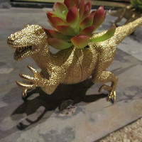 SALE!! Upcycled Silver or Gold Dinosaur Succulent planter with faux plant; unique Birthday gift; creative father's day gift; Teacher gift