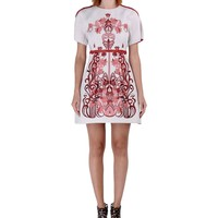 Giamba Floral Jacquard Dress - Short Sleeve Embroidered Dress