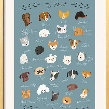 ABC  Dog Breeds Poster, 8 X10 , Dog Breed Names Begins at A to Z, dogs illustration art print