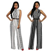 Pinkqueen Rompers Womens Jumpsuit Plus Size Cut Pants Rayon New Fashion Black White Milk Silk ladies Wide Leg Jumpsuit with belt