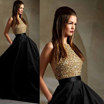 Halter Backless Gold Sparkly Prom Dresses