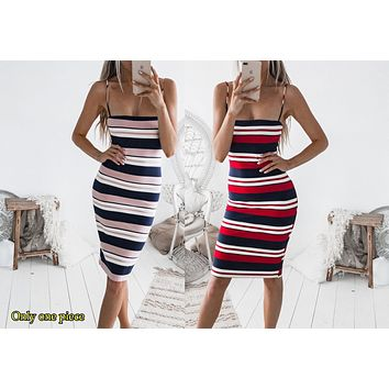 Selling Fashion Women's Stripe Colourless Sleeveless Suspender Skirt Printed Dresses