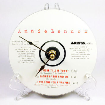 CD Clock, Desk Clock, Wall Clock, Annie Lennox, Recycled Music Compact Disc, Upcycle, Battery, Wall Hanger & Stand ALL INCLUDED