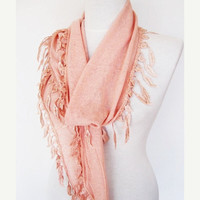 ON SALE Cotton Scarf With Fringed Leaf Lace, Fashion, For Gift, Mothers Day