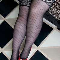 Diamond Dot Thigh High with Lace Stay Up Top - Sock Dreams