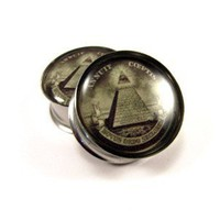 All Seeing Eye Picture Plugs gauges - 00g, 1/2, 9/16, 5/8, 3/4, 7/8, 1 inch