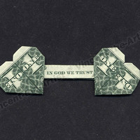 """Dollar Bill Origami DOUBLE HEART """"In God We Trust"""" - Great Gift - Made from Money"""