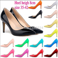 Autumn New fashion star pointed toe solid high heeles shoes nightclub women's pumps size 35-42