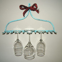 Turquoise / Metal / Wall Hook / Ornate / Shabby Chic / Wall Decor / Wine Glass Hanger / Towel Hanger / Cottage / Wall Hook / Key Hook