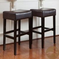 Christopher Knight Home Brown Leather Backless Bar Stools (Set of 2). This Modern Barstool Set Is The Perfect Addition To Your Kitchen Decor. Each Bar Stool Offers Soft, Supple Leather And Warm Espresso Colors. Add These Counter Stools To Your Home.