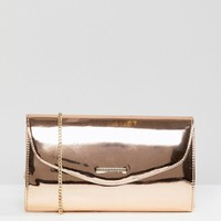 Lipsy Rosegold Metallic Clutch With Logo at asos.com