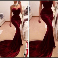 Unique Designer Burgundy Mermaid Prom Dresses 2017 women Long Train Flattered Fitted Red Wine Velvet Elegant Party Gowns A95