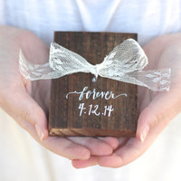 Wooden Ring Bearer Pillow with Lace - Rustic Weddings