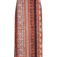 Printed Maxi Skirt With Ruched Waist - Multi