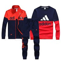 Adidas Women Men Top Sweater Pullover Cardigan Jacket Coat Pants Trousers Set Three Piece