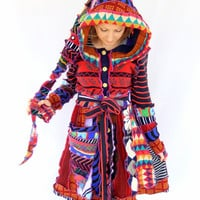 Psychedelic Sweater Elf Coat - Crazy rainbow - Large - Ready to SHIP