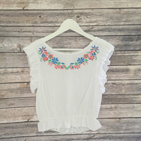 Ava Short Sleeve Embroidered Top