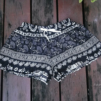 Black Elephant Shorts Print Exotic Boho Clothing Design Comfy Beach For Summer Hippie Aztec Ethnic Bohemian Ikat Boxers Pants Cute
