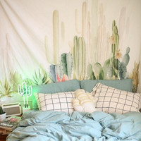 Green plants cactus hanging cloth tapestry