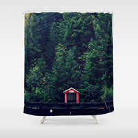 Red in Woods Shower Curtain by RDelean
