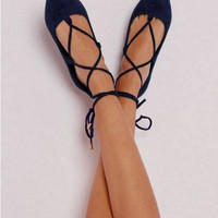Newest Point Toe Women Lace Up Flats