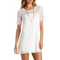 CROCHET & CHIFFON SHIFT DRESS