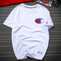 Champion embroidery Cotton women and man top tee T-shirt blouse