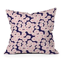 Joy Laforme Floral Sophistication In Navy Throw Pillow