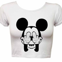 Mickey Mouse shirt Funny Mickey crop top t shirt crop top shirt tank t shirt tshirt WHITE