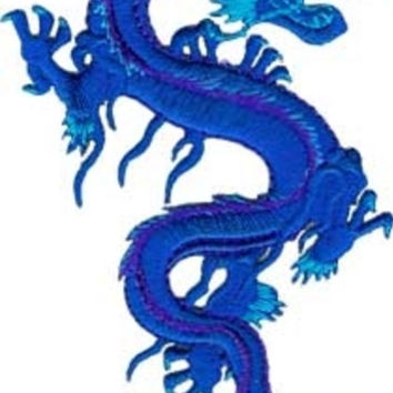 Dragon Iron-On Patch Royal Blue