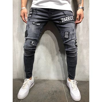 Men's Jeans Trousers Long Pants with Hole
