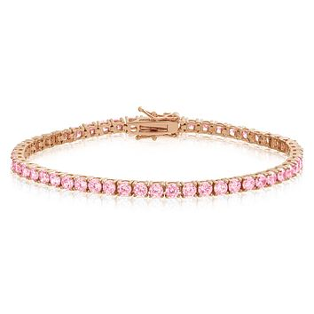 Pink Lab Diamond One Row 14k Rose Gold Finish Tennis Bracelet