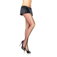 Fishnet Pantyhose With Woven Contrast Side Stripes