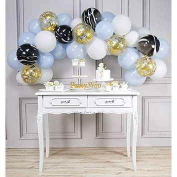 PartyWoo Blue White and Gold Balloons, 40 pcs 12 Inch Baby Blue Balloons, White Balloons, White Marble Balloons, Gold Confetti Balloons, Blue and White Balloons for Baby Boy Shower, Boy Birthday Party