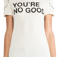 Pam & Gela You're No Good Distressed Logo Tee in Studded Cream | REVOLVE