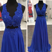 Applique Royal Blue A-Line Prom Dresses