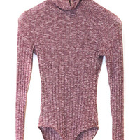 Burgundy Turtleneck Mixed Cable Knitted Bodysuit