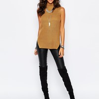 Stitch & Pieces Turtle Neck Ribbed Tunic Top at asos.com