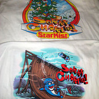 VTG STARKIST CHARLIE THE TUNA SORRY CHARLIE ADVERTISING T-SHIRTS-2 SIDED-2 EA-L