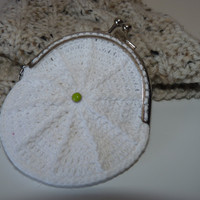 Crochet coin purse  / White coin purse  /  Metal frame coin purse / Crochet accessories