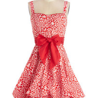 ModCloth Long Sleeveless A-line Train Trip Dress in Red Petals