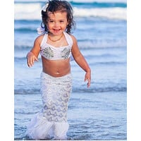 Cute Baby Girl Summer Beach Mermaid Tail Swimwear Bikini Set Bathing Suit Beachwear