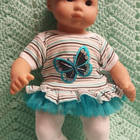 """Baby Doll Clothes to fit 15 inch doll """"Butterfly Beauty"""" Will fit Bitty Baby®  doll outfit dress leggings footless sandals handmade L5"""