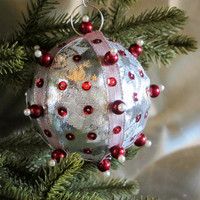 Christmas Ornament, Silver Ball with Red & Pearl Accents in Gift Box, Handmade Fabric Tree Decoration, Holiday Decor, Boxed Present Wrap