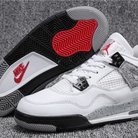 Best Quality Air Jordan Retro 4 White cement 4s OG 2016 GREY Black White Red man basketball shoe